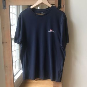 Vineyard Vines Navy Tee with Pink whale graphic
